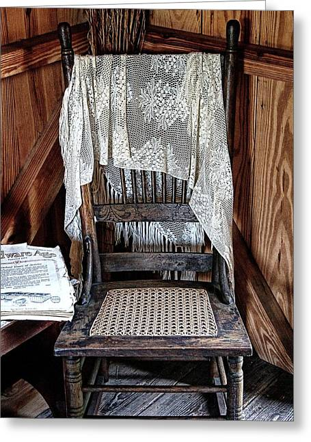Corner Chair Greeting Card by Nancie Rowan
