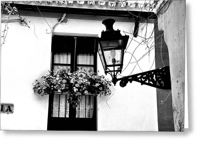 Greeting Card featuring the photograph Corner Light Black And White by Rick Bragan