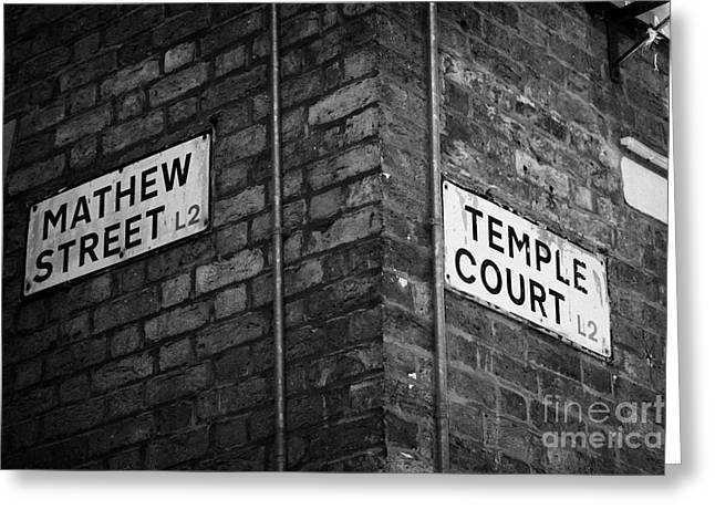 Corner Of Mathew Street And Temple Court In Liverpool City Centre Birthplace Of The Beatles  Greeting Card by Joe Fox