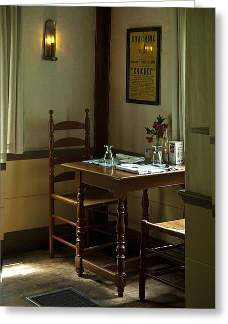 Corner Table Greeting Card by Lee Fortier