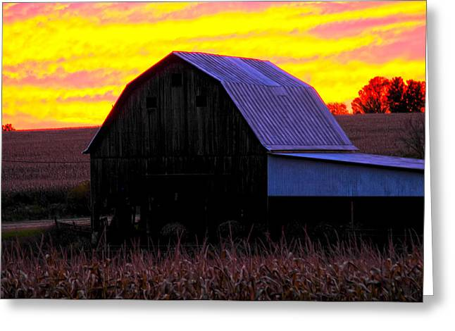 Greeting Card featuring the photograph Cornfield Barn Sky by Randall Branham