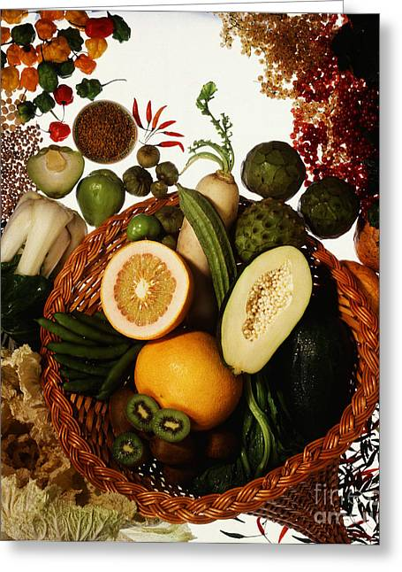 Cornucopia Of Exotic Fruit Greeting Card by Photo Researchers