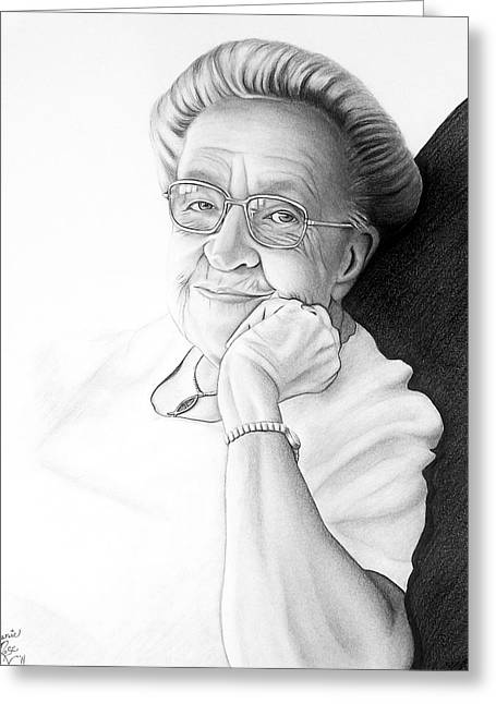 Greeting Card featuring the drawing Corrie Ten Boom by Danielle R T Haney