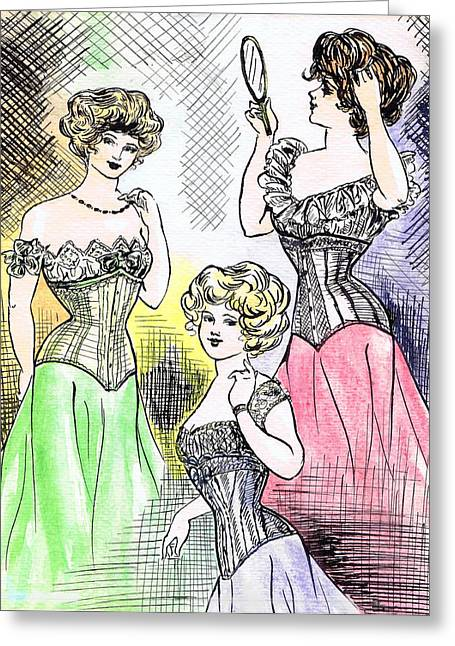 Corset Ladies Greeting Card by Mel Thompson