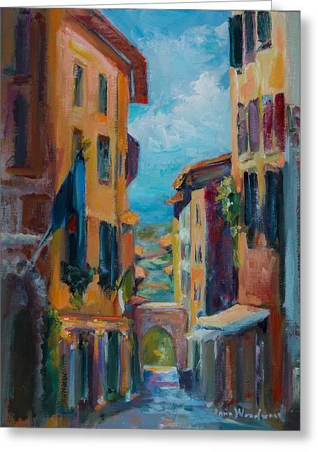 Cortona - Early Morning Greeting Card by Jane Woodward
