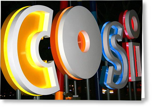 Cosi In Neon Lights Greeting Card