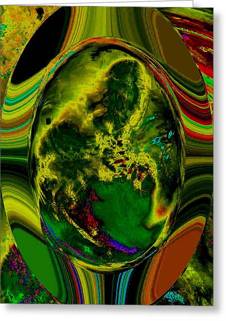 Cosmic Egg - Emerald Greeting Card by Colleen Cannon