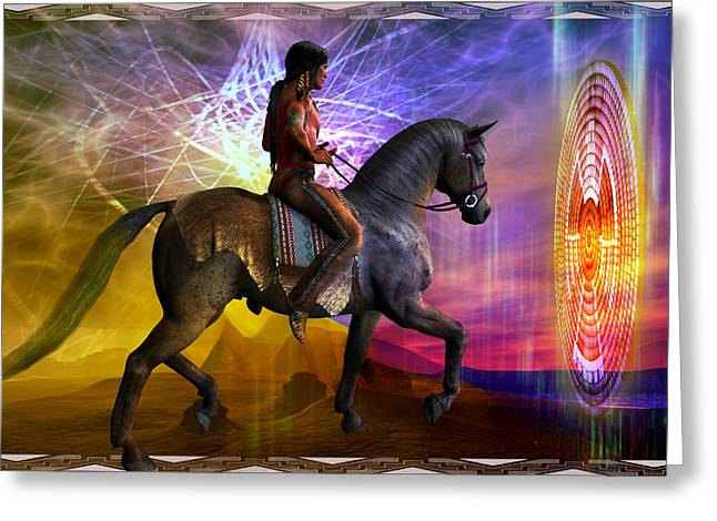 Greeting Card featuring the digital art Cosmic Horizon by Shadowlea Is