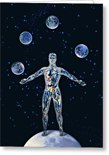 Cosmic Man Juggling Worlds, Artwork Greeting Card by Paul Biddle