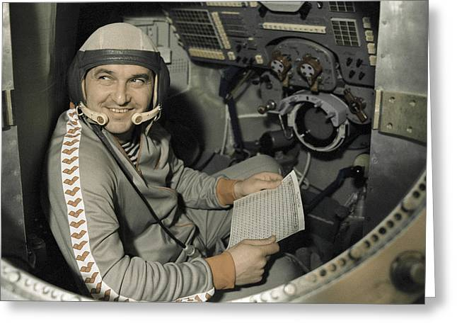 Cosmonaut Titov, Soyuz Tm-4 Mission, 1987 Greeting Card by Ria Novosti