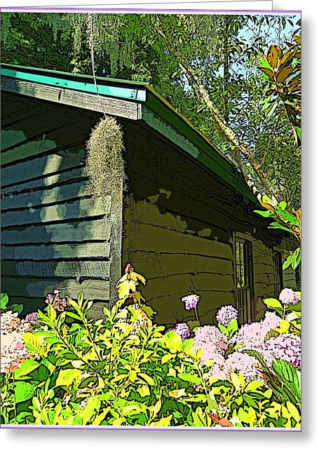 Cottage At Magnolia Plantation Greeting Card by Mindy Newman