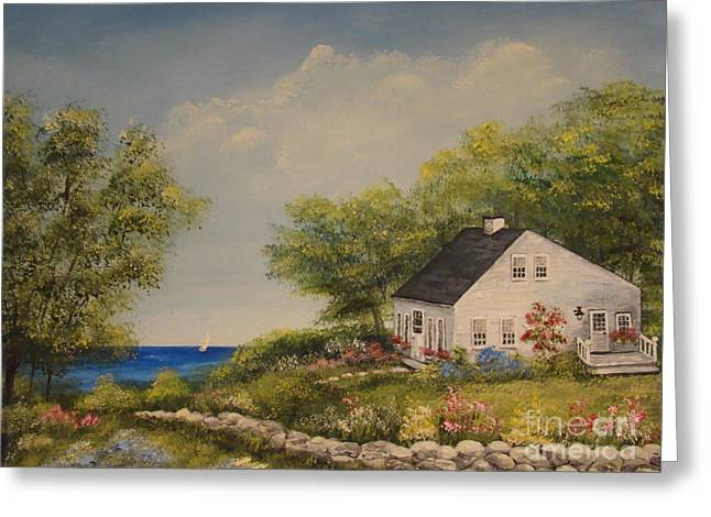 Cottage By The Lake Greeting Card by Leea Baltes