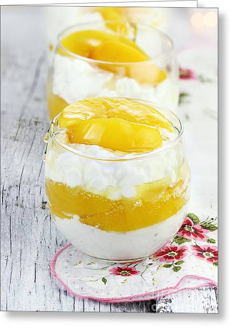 Cottage Cheese And Peaches  Greeting Card by Stephanie Frey