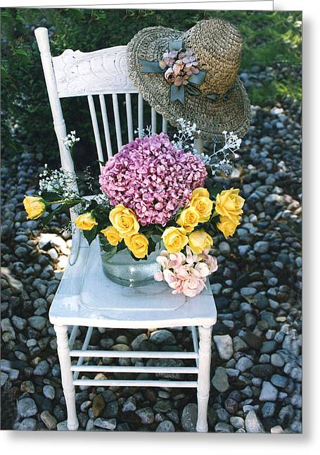 Cottage Chic Yellow Roses Garden Art Greeting Card by Kathy Fornal