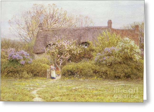 Cottage Freshwater Isle Of Wight Greeting Card by Helen Allingham