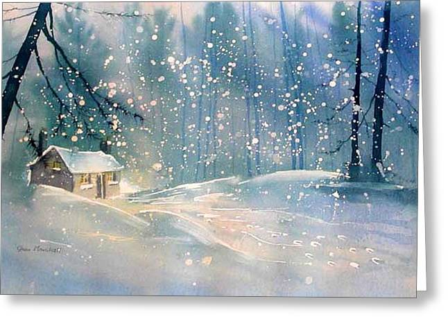 Cottage In The Snow Greeting Card