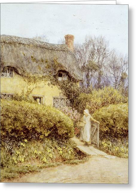 Cottage Near Freshwater  Greeting Card by Helen Allingham
