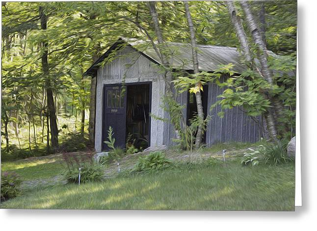 Cottage Shed Greeting Card by Michel DesRoches