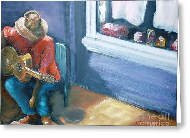 Greeting Card featuring the painting Busker At Cottesloe - Original Sold by Therese Alcorn
