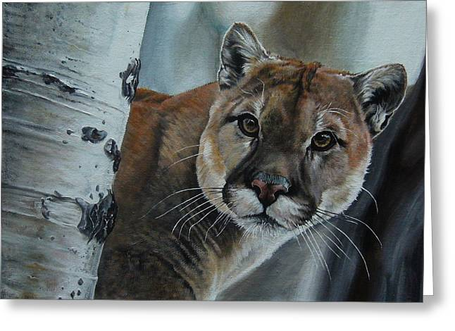 Cougar Greeting Card by Oleg Dashevsky