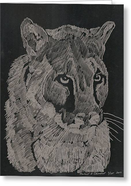 Cougar Greeting Card by Robert Clement
