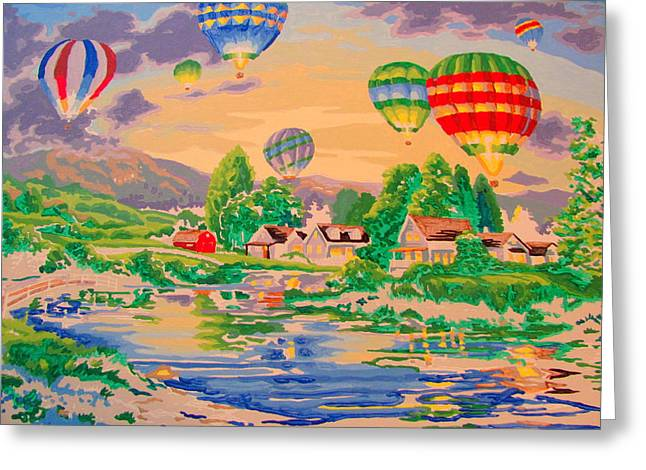 Country Balloon Ride Greeting Card by Amy Bradley