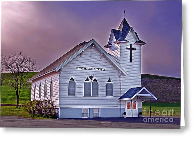 Greeting Card featuring the photograph Country Church At Sunset Art Prints by Valerie Garner
