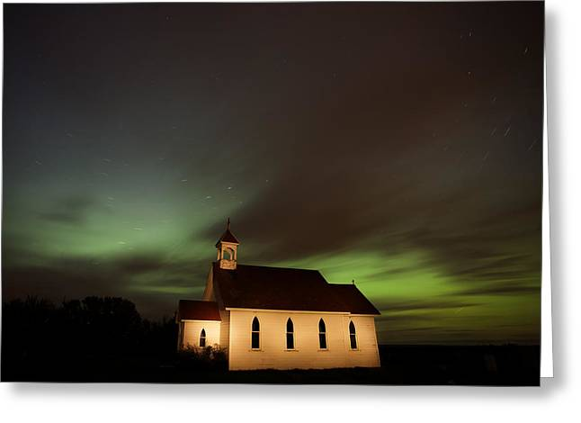 Country Church Night Photography Greeting Card