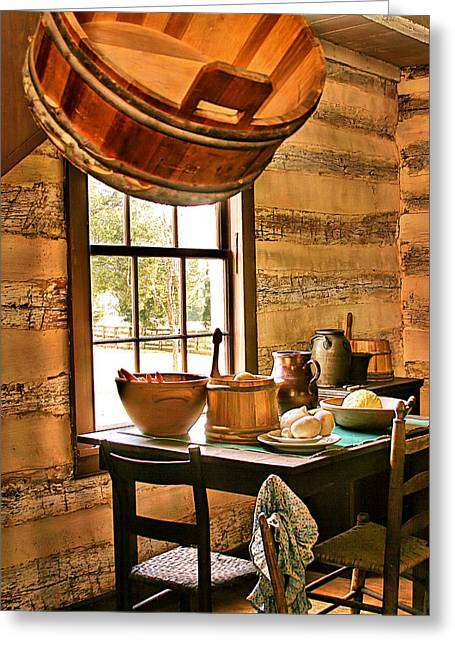 Greeting Card featuring the digital art Country Kitchen by Mary Almond