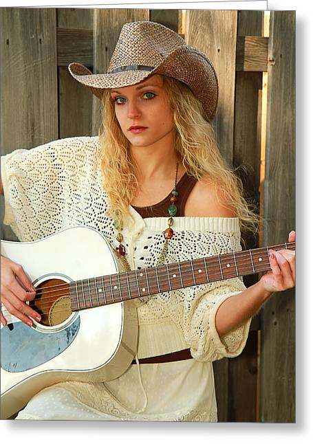 Country Musician Greeting Card by Trudy Wilkerson