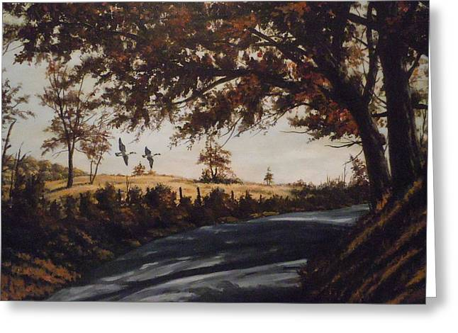 Greeting Card featuring the painting Country Road by James Guentner