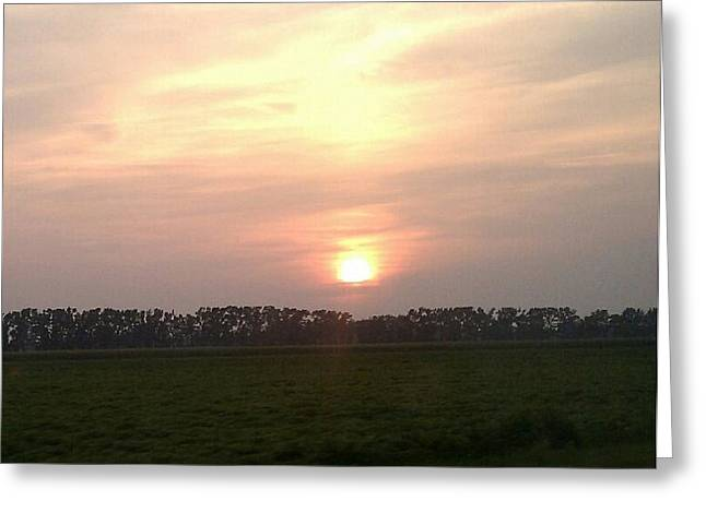 Country Sunset Greeting Card by Jeannette Brown