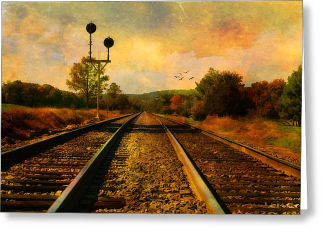 Country Tracks Greeting Card by Kathy Jennings