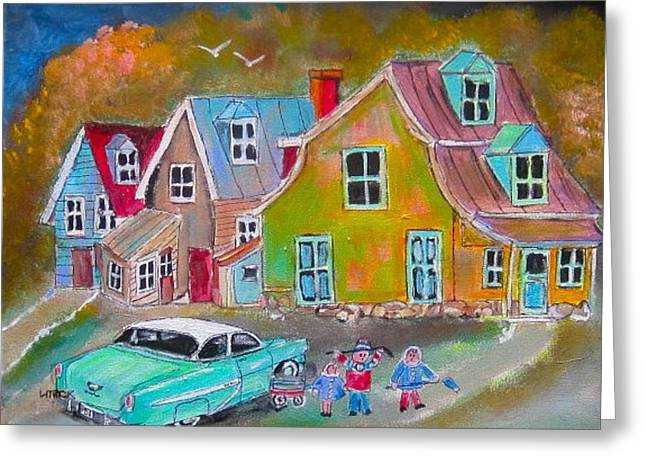 Country Village 1954 Greeting Card by Michael Litvack