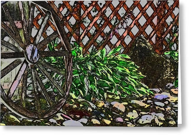 Country Wheel Working Greeting Card by Debra     Vatalaro