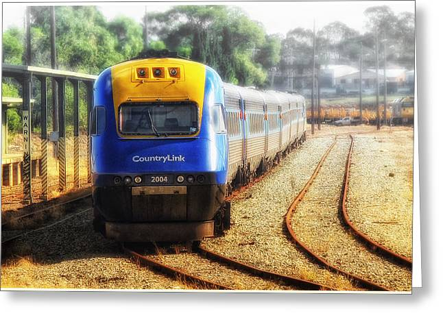 Greeting Card featuring the digital art Countrylink Taree 01 by Kevin Chippindall