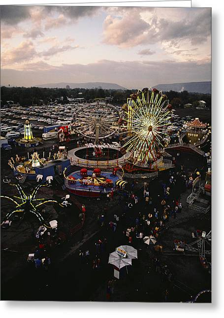County Fair, Yakima Valley, Rides Greeting Card by Sisse Brimberg