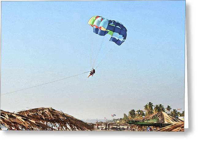 Couple Parasailing Over Shacks Goa Greeting Card by Kantilal Patel