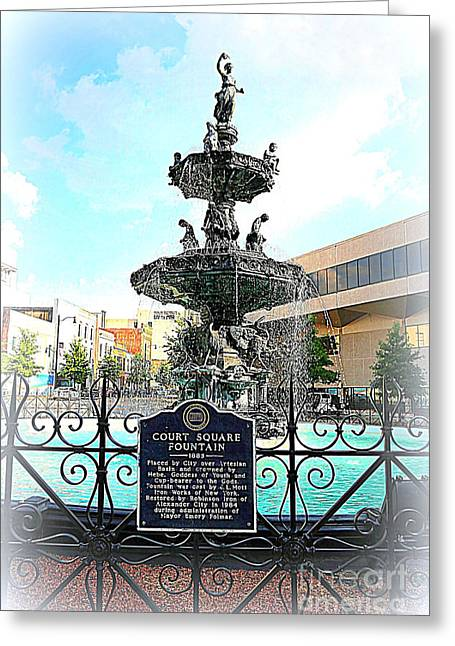 Court Square Fountain Greeting Card by Carol Groenen