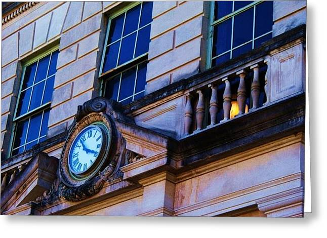 Courthouse Clock Greeting Card by Beverly Hammond