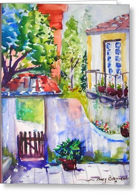 Courtyard In Sintra Greeting Card by Nancy Brennand