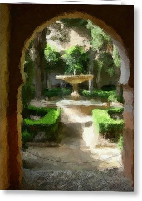 Courtyard In Sunshine Through Moorish Arches Greeting Card