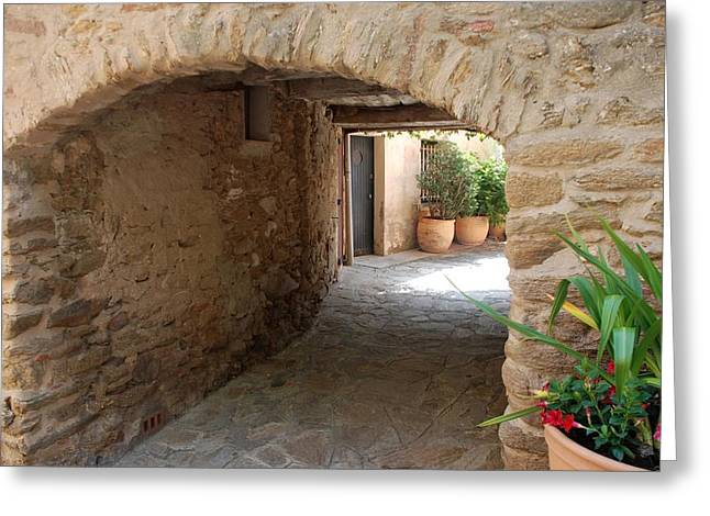 Courtyard In The Village Greeting Card by Dany Lison
