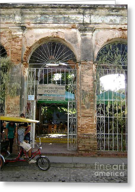 Courtyard Restaurant Trinidad Cuba Greeting Card by Laurel Fredericks