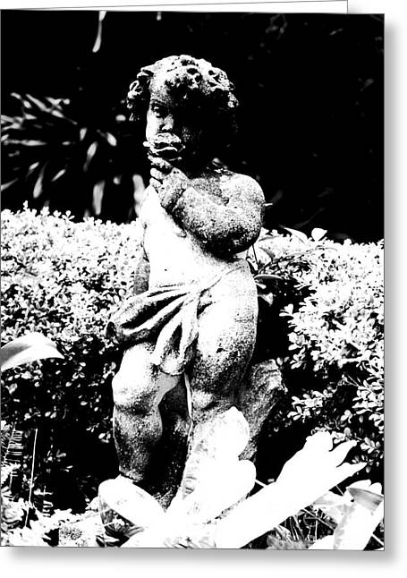 Courtyard Statue Of A Cherub French Quarter New Orleans Black And White Conte Crayon Digital Art Greeting Card