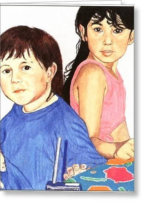 Greeting Card featuring the painting Cousins by Ana Tirolese