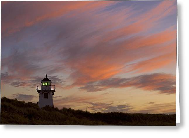 Covehead Lighthouse At Sunset, Prince Greeting Card