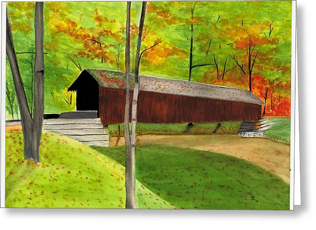 Covered Bridge 1 Greeting Card by David Bartsch