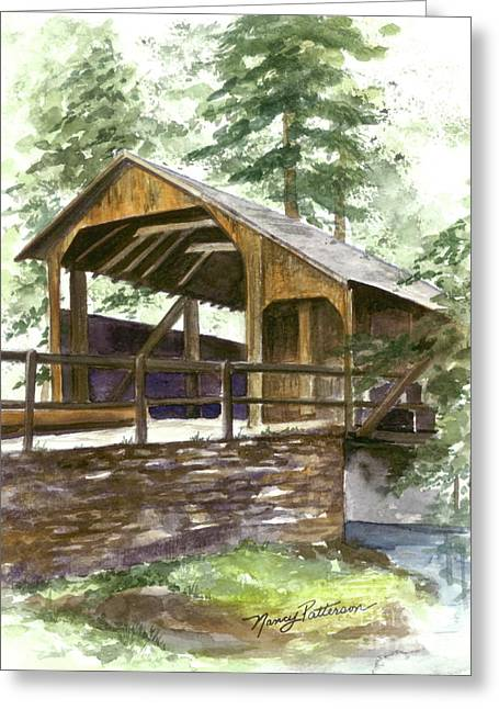 Greeting Card featuring the painting Covered Bridge At Knoebels  by Nancy Patterson