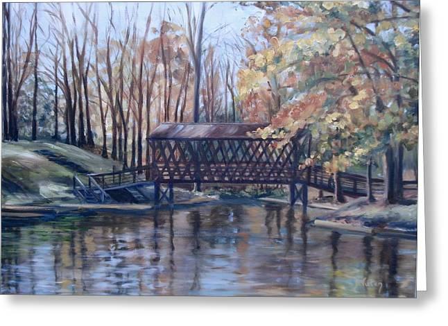 Covered Bridge At Lake Roaming Rock Greeting Card by Donna Tuten